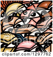 Clipart Of A Crowd Of Painted Faces Royalty Free Illustration