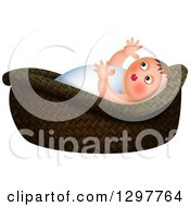 Clipart Of Baby Moses In A Basket Over White Royalty Free Illustration by Prawny