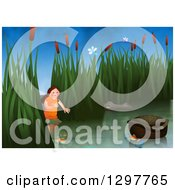 Clipart Of Miriam Watching Over Baby Moses Floating In A Basket Royalty Free Illustration by Prawny