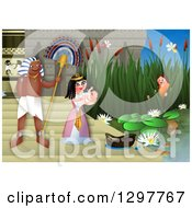 Clipart Of Miriam Watching Baby Moses Discovered By The Egyptian Princess Royalty Free Illustration by Prawny