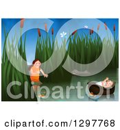 Clipart Of Miriam Watching Over Baby Moses Floating In A Basket On The Nile River Royalty Free Illustration