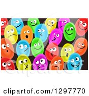 Clipart Of Colorful Egg Heads On Black Royalty Free Illustration by Prawny