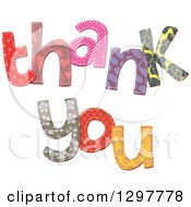 Clipart Of Patterned Stitched Thank You Text Royalty Free Vector Illustration