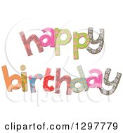 Clipart Of Patterned Stitched Happy Birthday Text Royalty Free Vector Illustration
