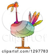 Clipart Of A Gradient Colorful Big Bird Royalty Free Illustration