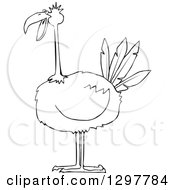 Clipart Of A Black And White Big Bird Royalty Free Vector Illustration