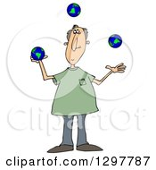 Clipart Of A Caucasian Man Juggling Earth Globes Royalty Free Illustration