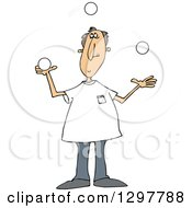 Clipart Of A Caucasian Man Juggling White Balls Royalty Free Vector Illustration