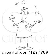 Clipart Of A Black And White Man Juggling Balls Royalty Free Vector Illustration