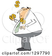 Clipart Of A Chubby White Business Man Juggling Usd Dollar Currency Symbols Royalty Free Vector Illustration