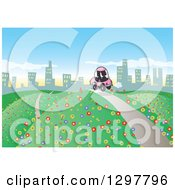 Clipart Of A Silhouetted Couple Driving A Pink Car On A Hilly Road With Colorful Flowers To A City In The Distance Royalty Free Vector Illustration