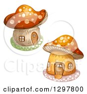Clipart Of Mushroom Houses Royalty Free Vector Illustration by merlinul
