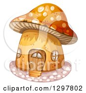 Clipart Of A Mushroom House With A Wood Door Royalty Free Vector Illustration by merlinul