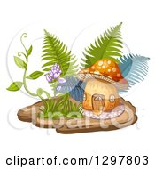 Clipart Of A Mushroom House With Ferns A Vine And Flowers Royalty Free Vector Illustration by merlinul