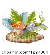 Clipart Of A Mushroom House With Ferns And A Flowering Vine Royalty Free Vector Illustration by merlinul
