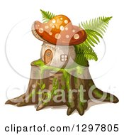 Clipart Of A Mushroom House On A Tree Stump Royalty Free Vector Illustration by merlinul