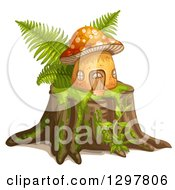 Mushroom House With Ferns On A Tree Stump