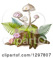 Clipart Of White Spotted Mushrooms On A Tree Stump With Flowers And Ferns Royalty Free Vector Illustration by merlinul