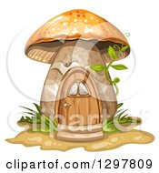 Clipart Of A Mushroom House With Ferns Grass And A Vine Royalty Free Vector Illustration by merlinul