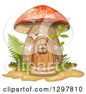 Red Roofed Mushroom House With Ferns Grass And A Vine