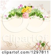 Floral Rose Wedding Background With Shamrock Clovers And Lattice