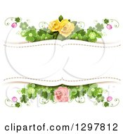 Floral Yellow And Pink Rose And Shamrock Clover Wedding Background With Text Space