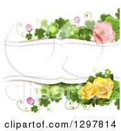 Floral Pink And Yellow Rose And Shamrock Clover Wedding Background With Text Space
