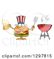 Clipart Of A Cartoon American Cheeseburger Character Holding A Beer And Spatula By A Bbq Grill Royalty Free Vector Illustration