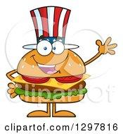 Cartoon American Cheeseburger Character Waving