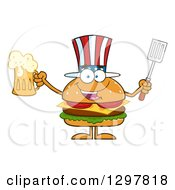 Clipart Of A Cartoon American Cheeseburger Character Holding A Beer And Spatula Royalty Free Vector Illustration