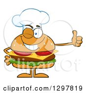 Clipart Of A Cartoon Cheeseburger Chef Character Giving A Thumb Up Royalty Free Vector Illustration by Hit Toon