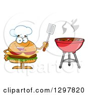Clipart Of A Cartoon Cheeseburger Chef Character Holding A Spatula By A Bbq Grill Royalty Free Vector Illustration