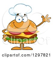 Clipart Of A Cartoon Cheeseburger Chef Character Waving Royalty Free Vector Illustration