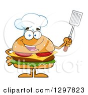 Clipart Of A Cartoon Cheeseburger Chef Character Holding Up A Spatula Royalty Free Vector Illustration