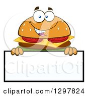 Clipart Of A Cartoon Cheeseburger Character Over A Blank Sign Royalty Free Vector Illustration
