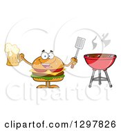 Clipart Of A Cartoon Cheeseburger Character Holding A Beer And Spatula By A Bbq Grill Royalty Free Vector Illustration