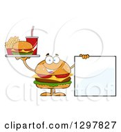 Clipart Of A Cartoon Cheeseburger Character Holding Up A A Tray And A Blank Sign Royalty Free Vector Illustration