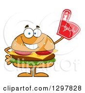 Clipart Of A Cartoon Cheeseburger Character Wearing A Foam Finger Royalty Free Vector Illustration