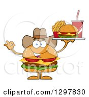 Clipart Of A Cartoon Cheeseburger Cowboy Character Holding A Tray And Gesturing Ok Royalty Free Vector Illustration by Hit Toon