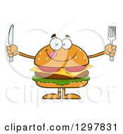 Clipart Of A Cartoon Hungry Cheeseburger Character Holding A Knife And Fork Royalty Free Vector Illustration
