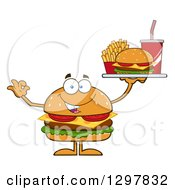 Clipart Of A Cartoon Cheeseburger Character Holding A Tray Of Fast Food And Gesturing Ok Royalty Free Vector Illustration