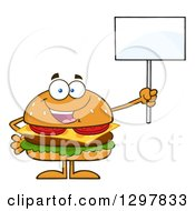 Clipart Of A Cartoon Cheeseburger Character Holding Up A Blank Sign Royalty Free Vector Illustration