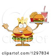 Clipart Of A Cartoon Cheeseburger King Character Holding A Tray And Gesturing Ok Royalty Free Vector Illustration