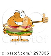 Clipart Of A Cartoon Cheeseburger Character Giving A Thumb Up And Winking Royalty Free Vector Illustration by Hit Toon