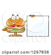 Clipart Of A Cartoon Cheeseburger Character Holding A Blank Sign Royalty Free Vector Illustration