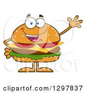 Clipart Of A Cartoon Cheeseburger Character Waving Royalty Free Vector Illustration