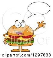 Clipart Of A Cartoon Cheeseburger Character Talking And Waving Royalty Free Vector Illustration