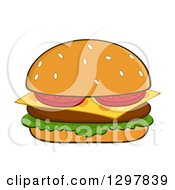 Clipart Of A Cartoon Cheeseburger Royalty Free Vector Illustration by Hit Toon