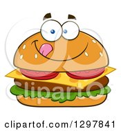 Clipart Of A Cartoon Cheeseburger Character Licking His Lips Royalty Free Vector Illustration