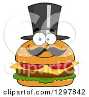 Clipart Of A Cartoon Cheeseburger Character With A Mustache And Top Hat Royalty Free Vector Illustration